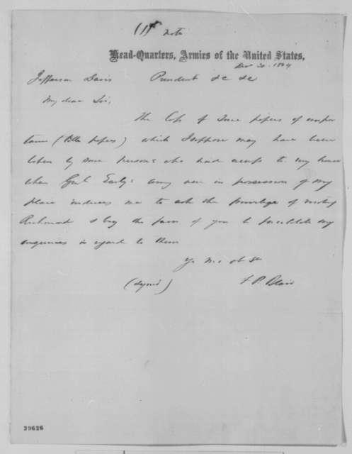 George Harrington to John G. Nicolay, Wednesday, March 01