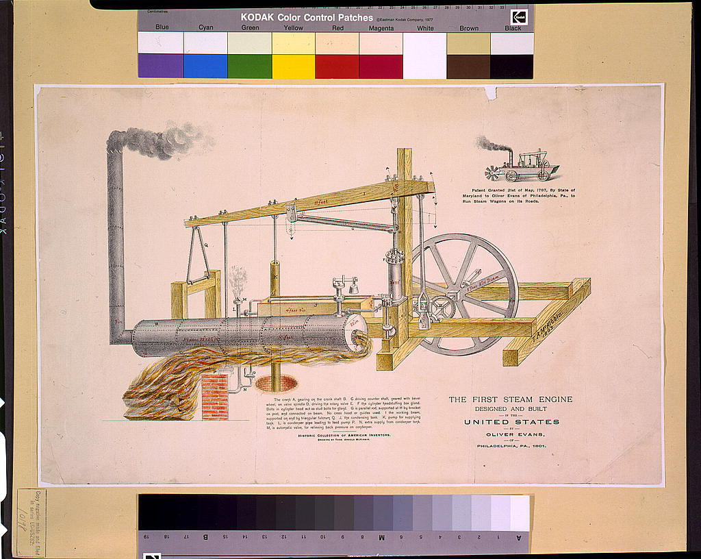 hight resolution of the first steam engine designed and built in the united states by oliver evans