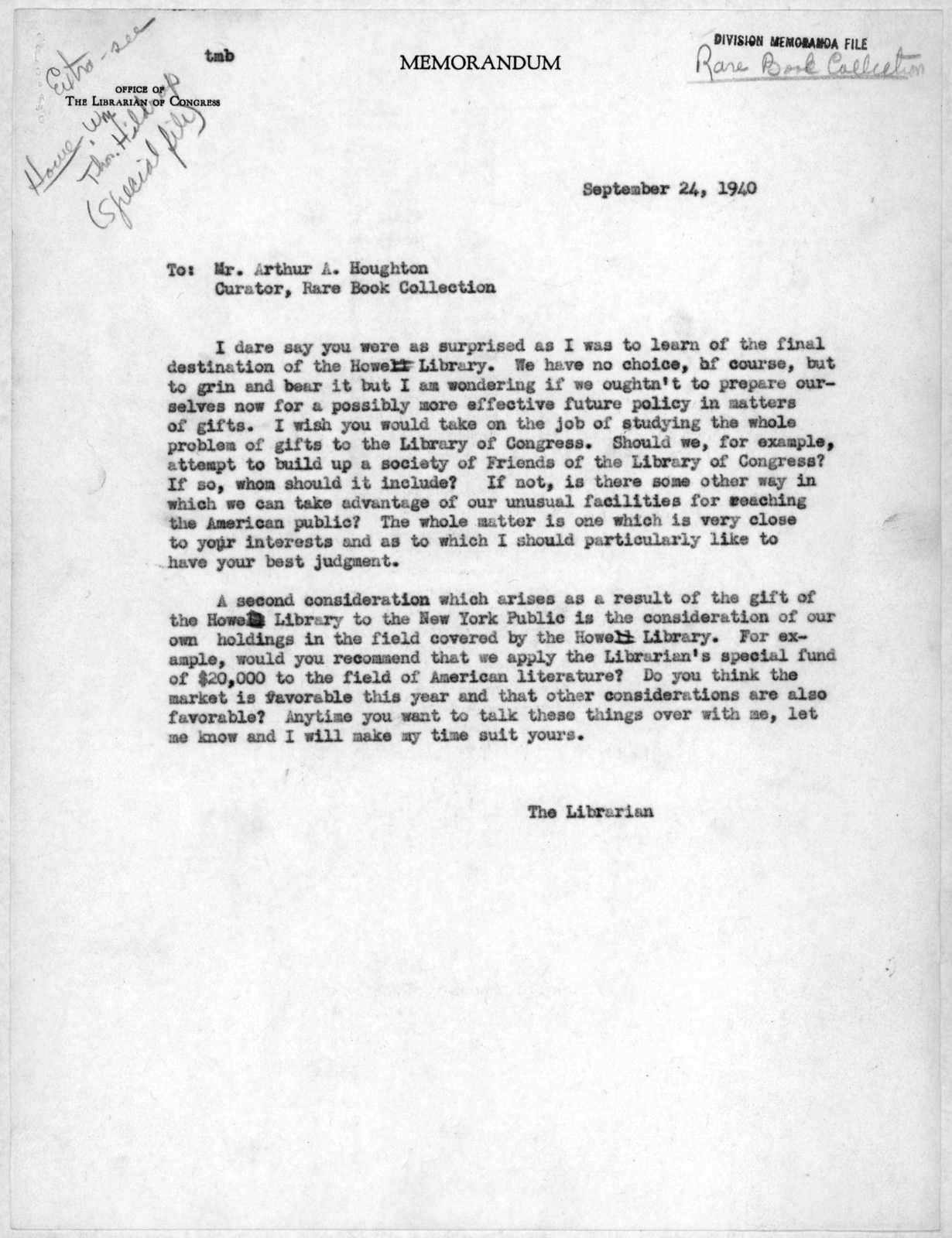Memorandum From Archibald Macleish To Arthur A. Houghton, Jr., September  24, 1940