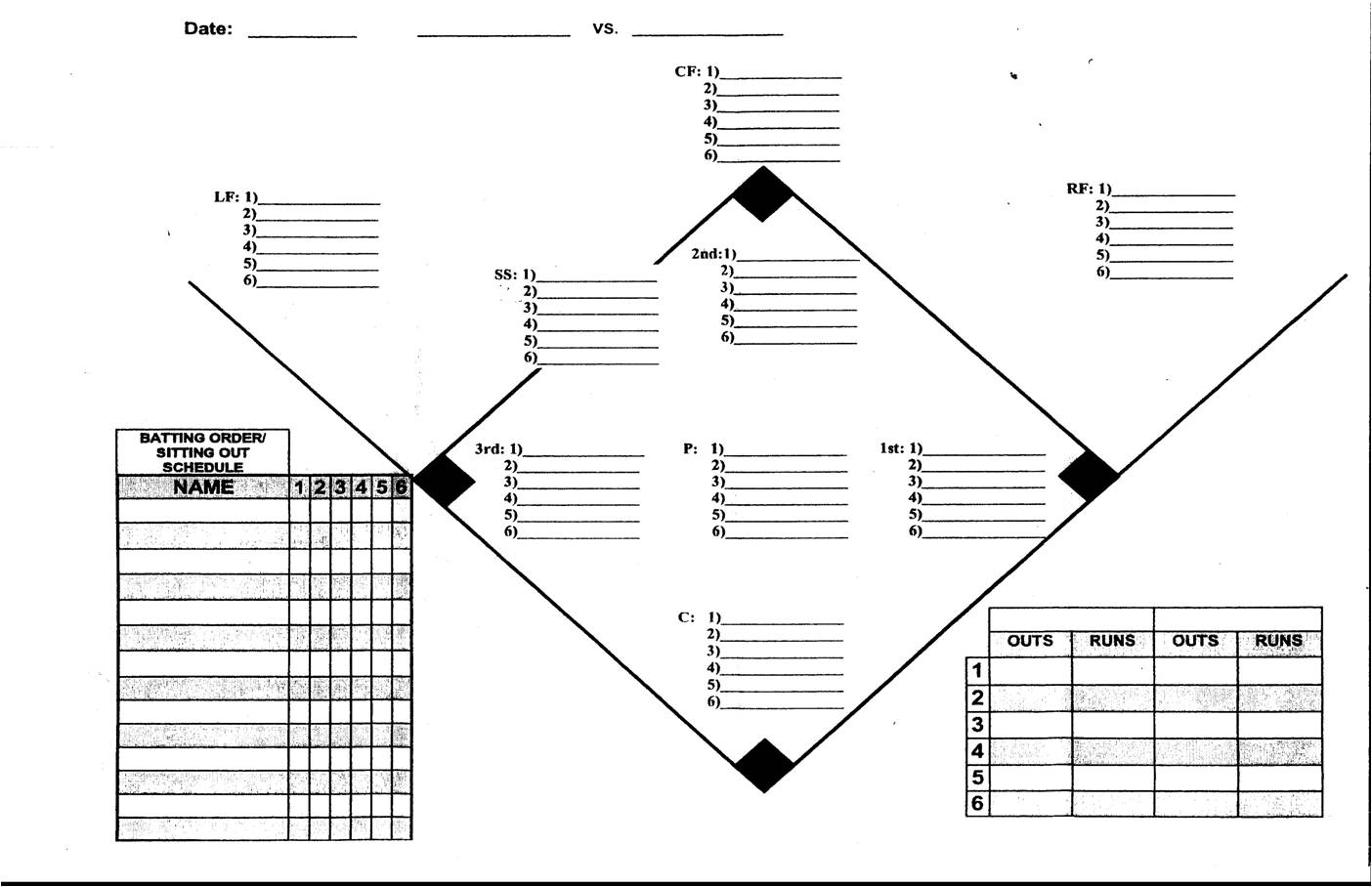 Printable Baseball Diamond Position Worksheet