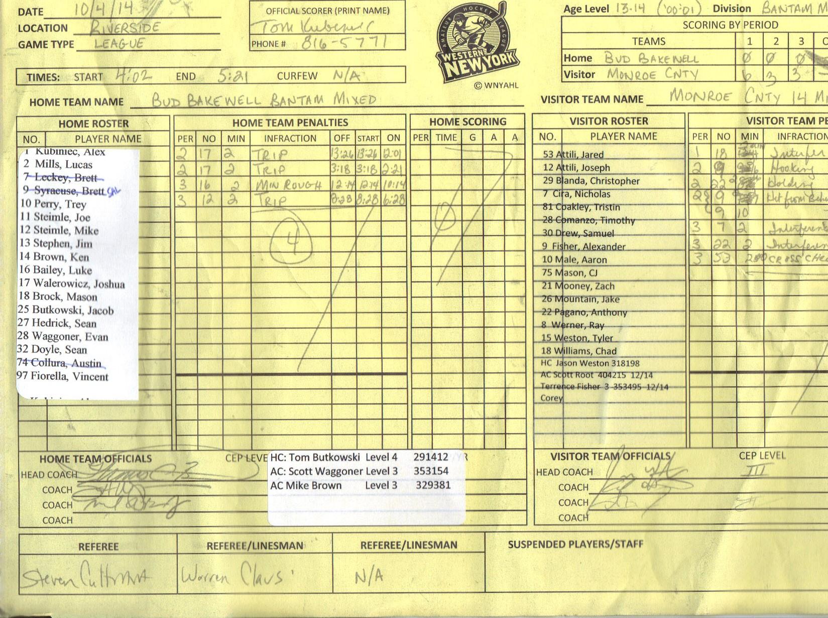 League Game # 1450
