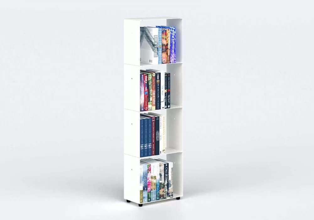 bibliotheque blanche design 30 cm metal 4 niveaux