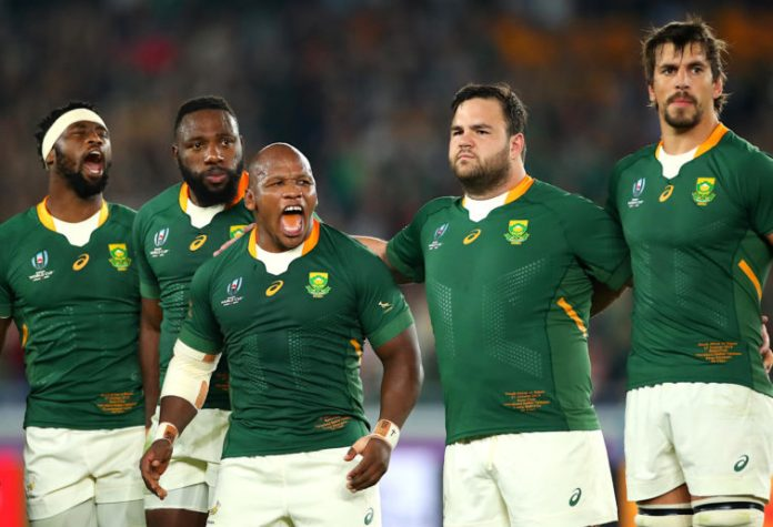 Springboks players after the national anthem