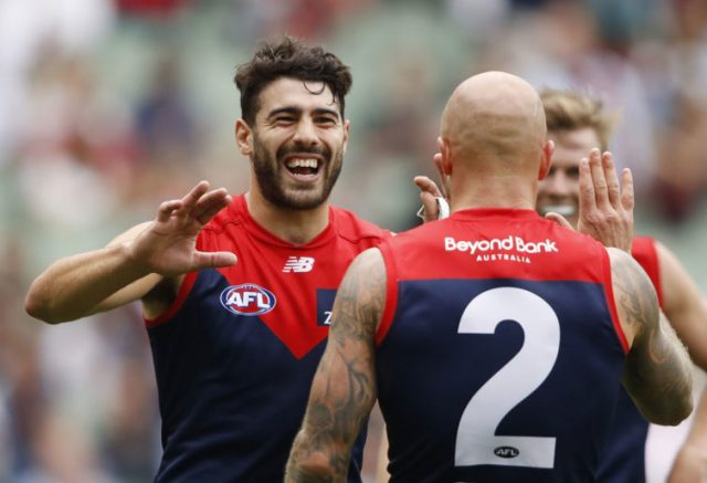 Christian Petracca of the Demons celebrates a goal