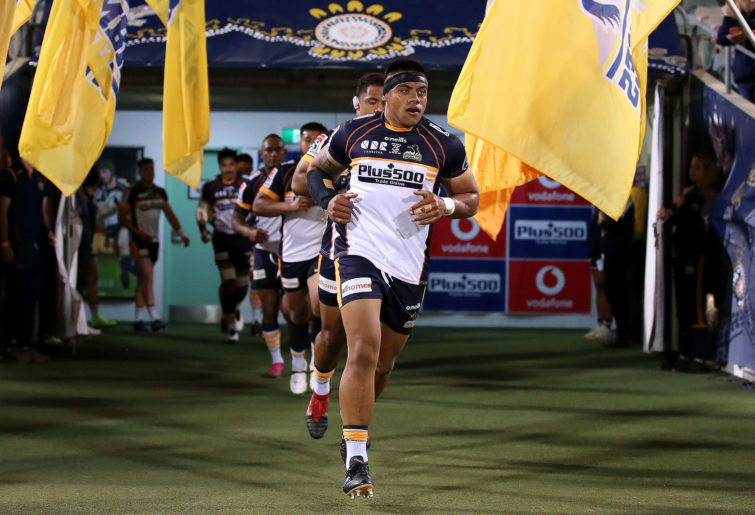 Allan Alaalatoa of the Brumbies leads out players