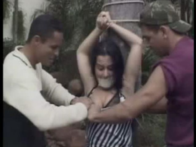 Threesome Rape Fantasy Tied To A Tree And gang banged