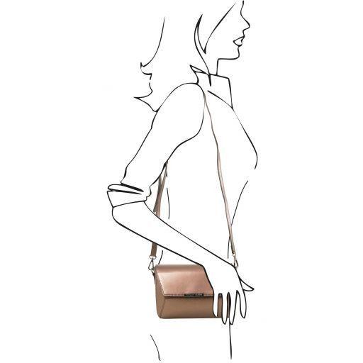 TL Bag Metallic Leather Clutch Handbag Bronze TL141649