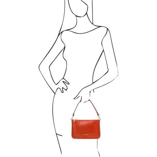 Cassandra Leather Clutch Handbag Brandy TL141870