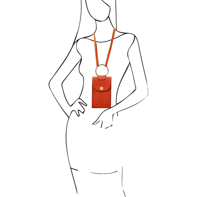 TL Bag Leather Cellphone Holder Mini Cross bag Brandy TL141865