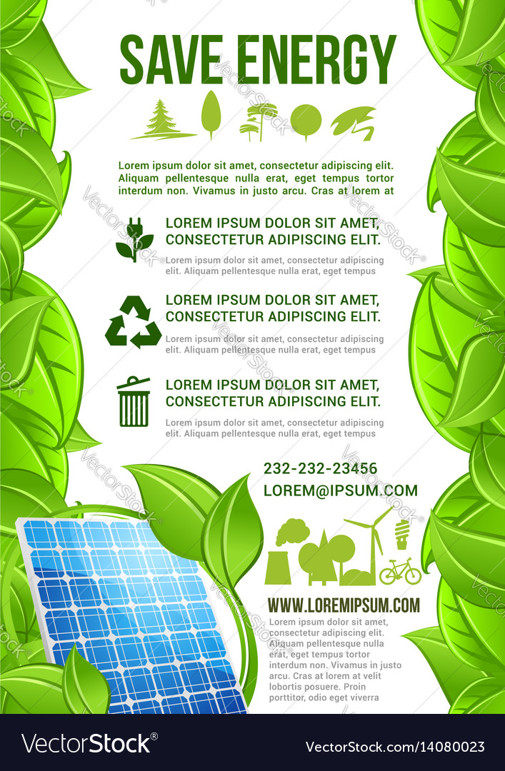 Energy And Ecology Conservation Poster Royalty Free Vector