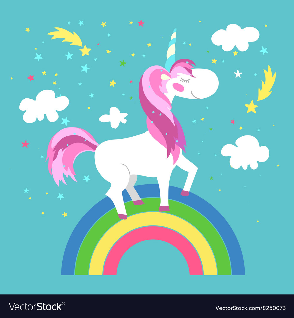 hight resolution of fairy unicorn with rainbow royalty free vector image half rainbow clip art clip art picture of