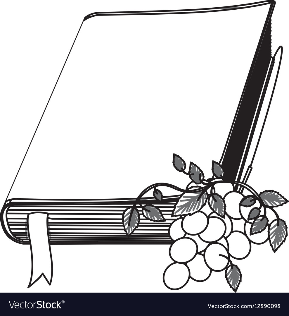 hight resolution of monochrome contour with holy bible with ribbon and vector image jpg 989x1080 bible clipart ribbon