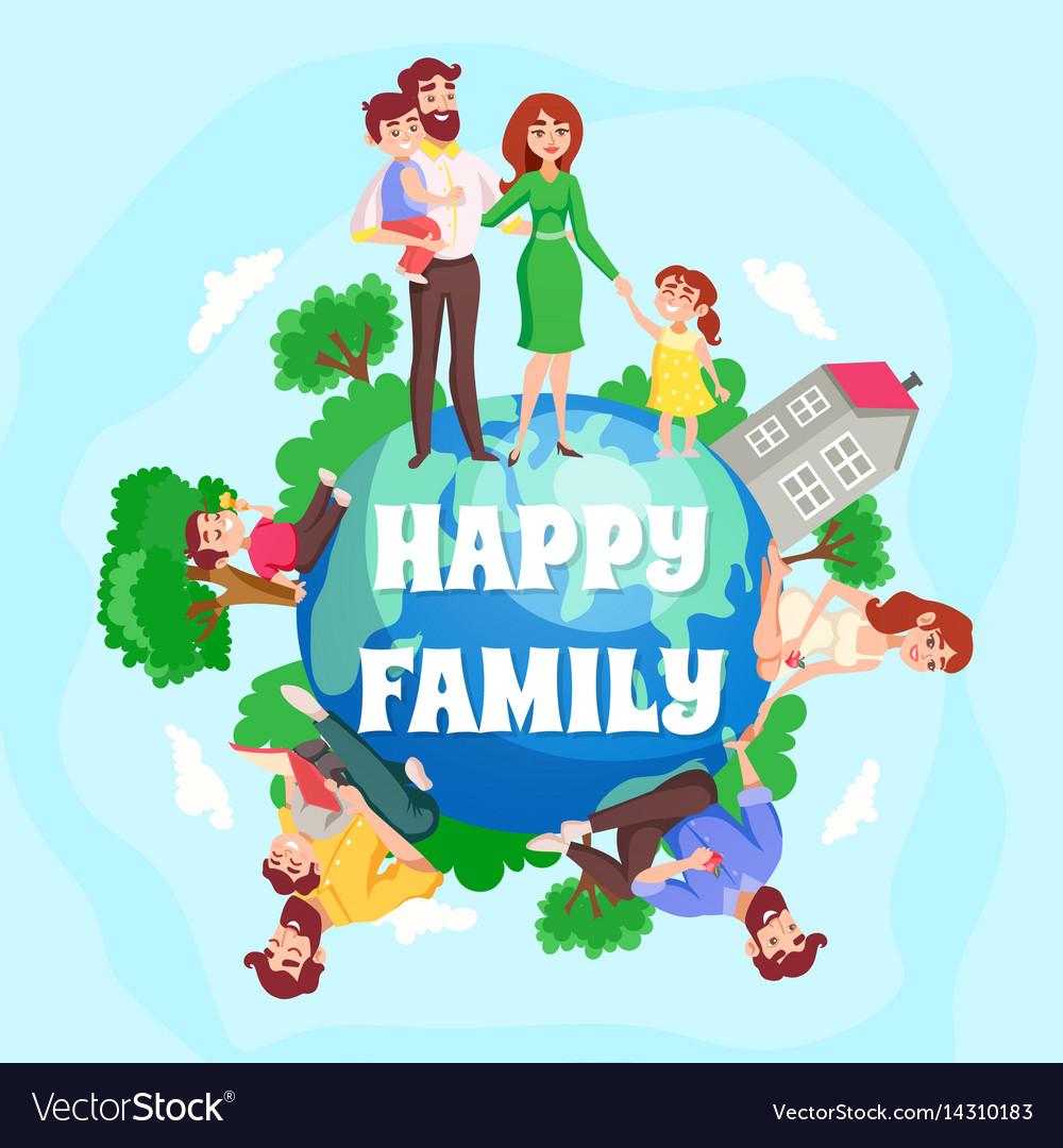 happy family cartoon composition