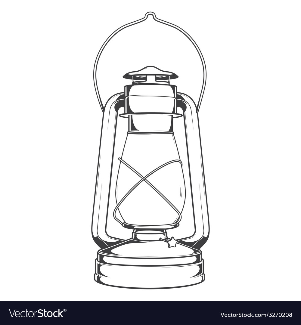 Antique Old Kerosene Lamp Royalty Free Vector Image