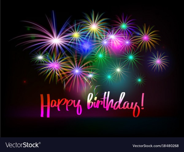 Happy Birthday Emoticon Animated Fireworks Greeting Card Royalty Free Vector