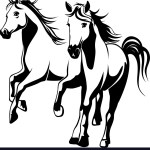 Wild Horses Black And White Royalty Free Vector Image