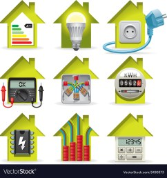 electricity home icons vector image [ 1000 x 1046 Pixel ]