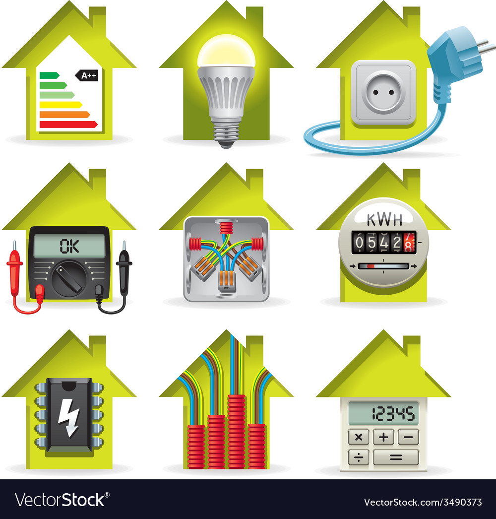 hight resolution of electricity home icons vector image