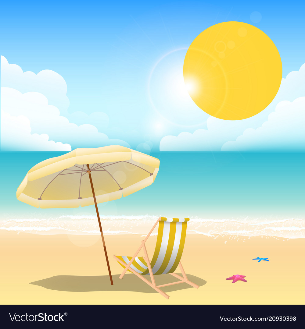 Beach Chairs With Umbrella Summer Yellow Beach Umbrella Beach Chair Blue Sea