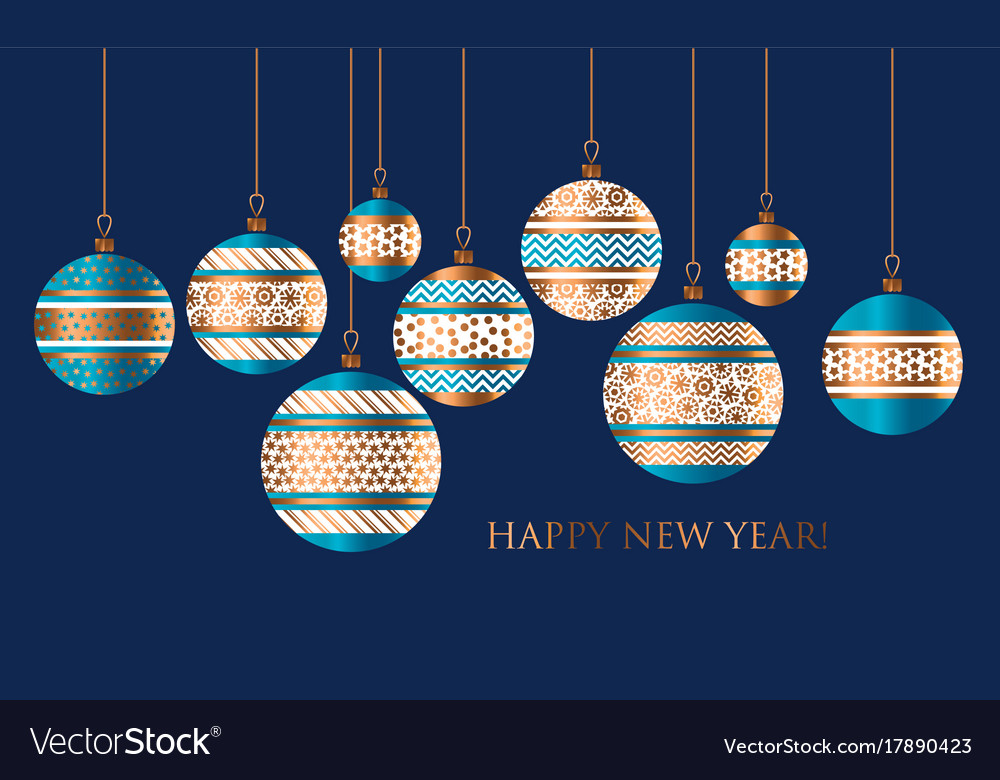 Blue And Gold Christmas Bauble Decor Royalty Free Vector