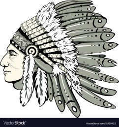 chief with indian headdress vector image [ 1000 x 1074 Pixel ]
