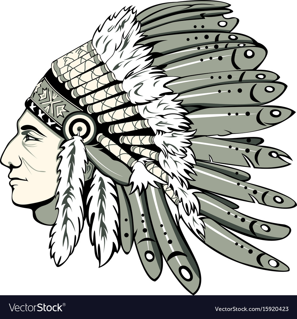 hight resolution of chief with indian headdress vector image