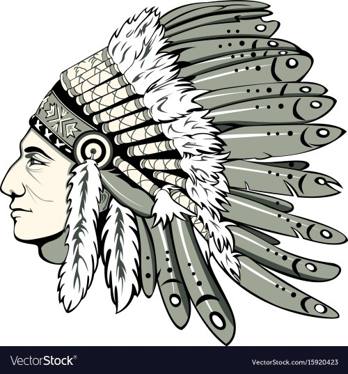 small resolution of chief with indian headdress vector image