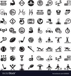 Big fitness icon set Royalty Free Vector Image