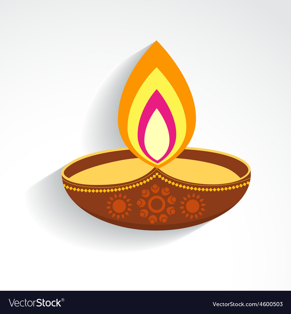 Colorful Diwali Diya Royalty Free Vector Image