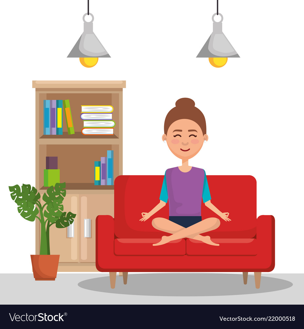 yoga sofa sectional sofas sears canada young woman practicing in the royalty free vector image