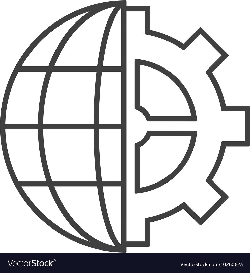 medium resolution of earth globe diagram and gear icon vector image