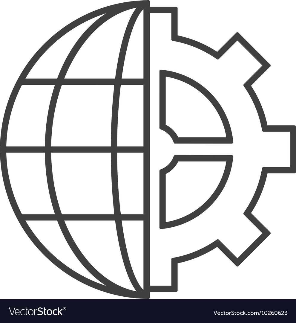 hight resolution of earth globe diagram and gear icon vector image