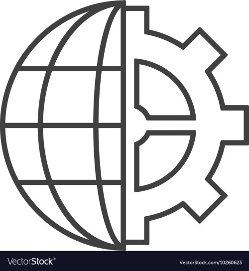 small resolution of earth globe diagram and gear icon vector image
