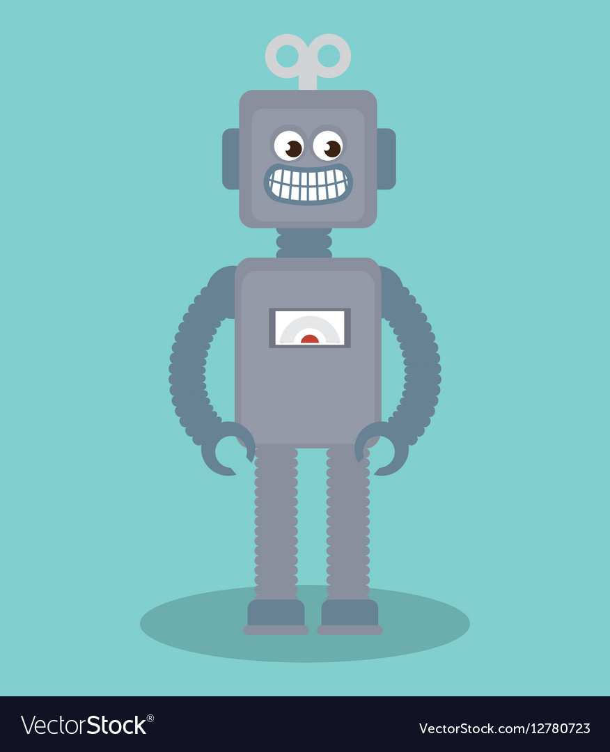 cute robot toy icon