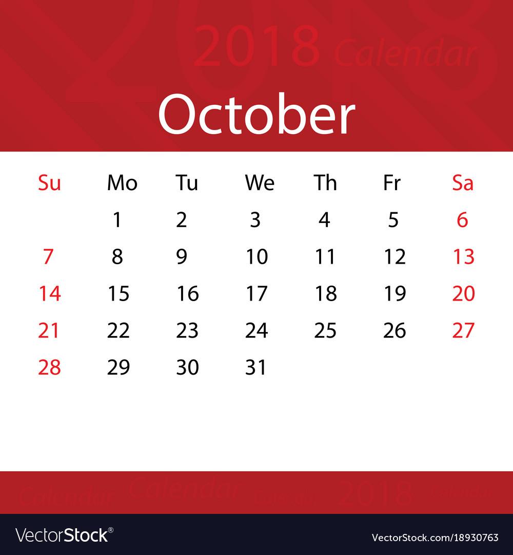 october 2018 calendar popular