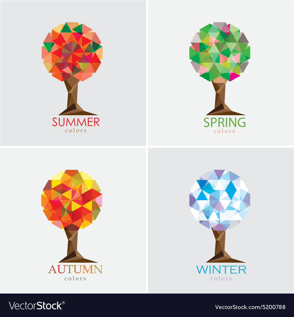 hight resolution of 3d origami low polygon trees vector image