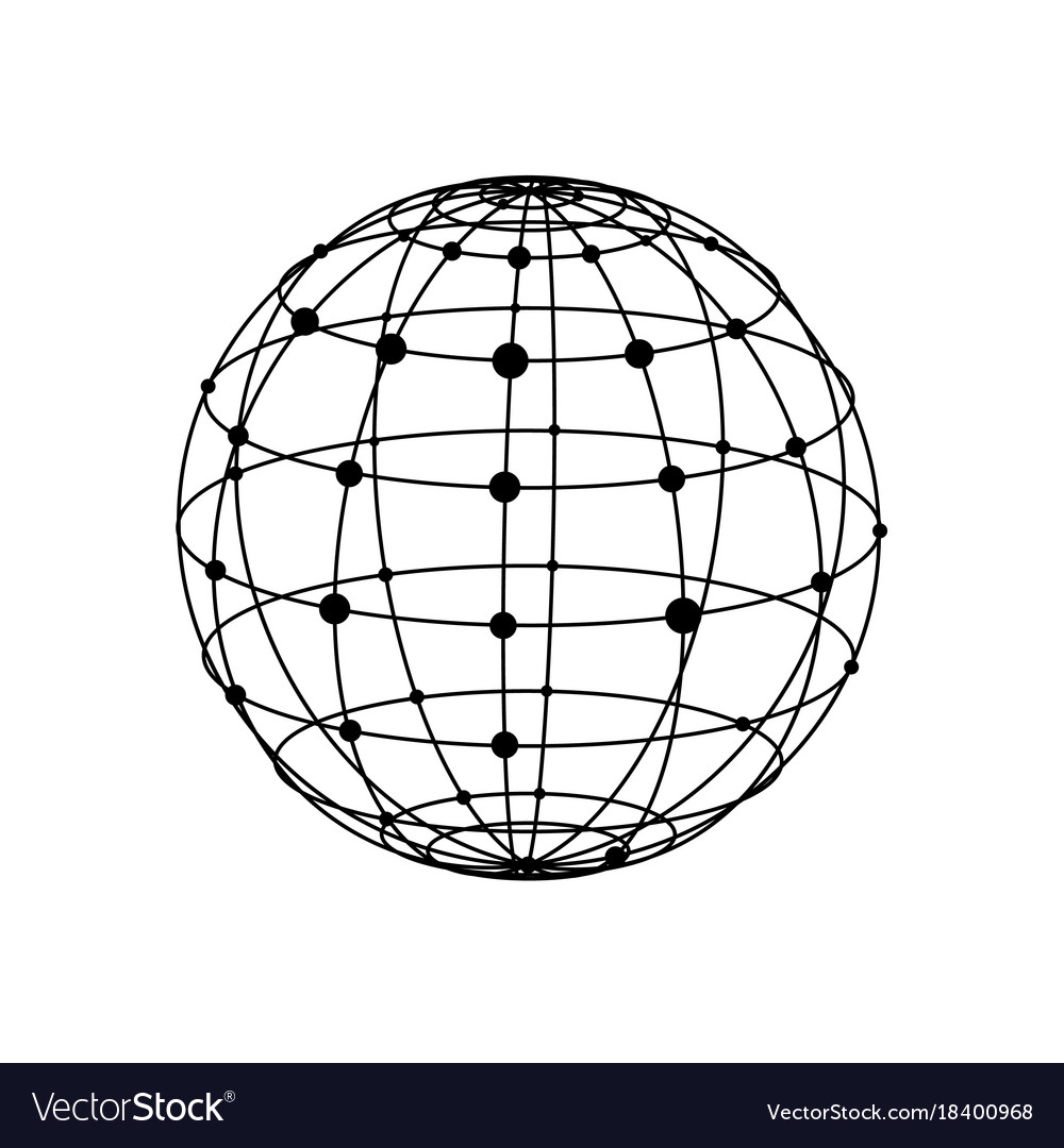 wireframe sphere with dots