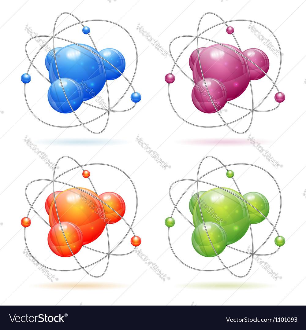 medium resolution of set atom model vector image