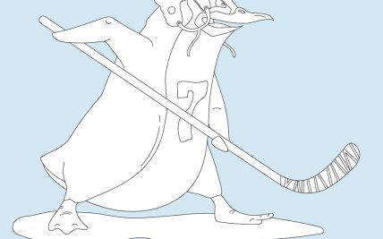 aggressive penguin hockey player coloring page vector