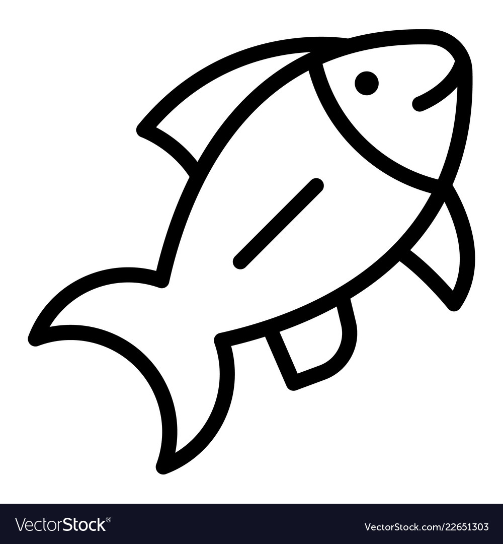 Ocean Fish Icon Outline Style Royalty Free Vector Image
