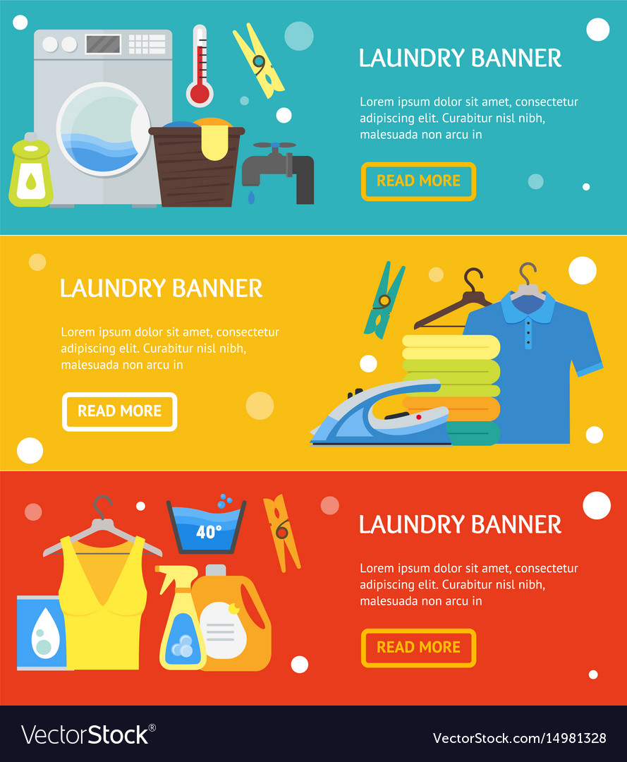Background Banner Laundry : background, banner, laundry, Cartoon, Laundry, Banner, Horizontal, Royalty, Vector