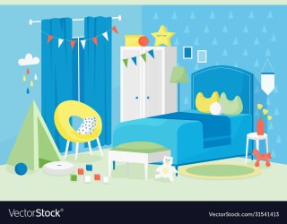 Kid boy room interior cartoon Royalty Free Vector Image