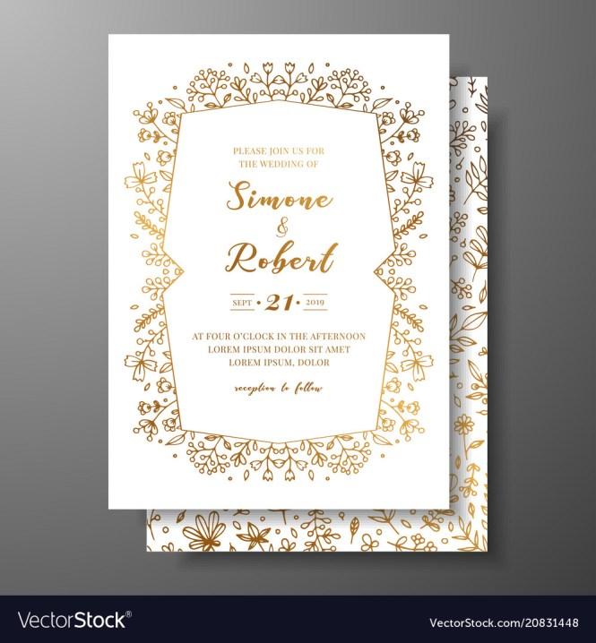 Golden Wedding Invitation With Hand Drawn
