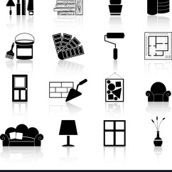 Chair Design Icons Ikea Dining Table Chairs Interior Black Royalty Free Vector Image