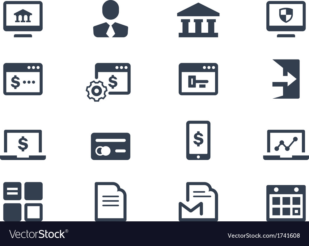 Online Banking Icons Royalty Free Vector Image
