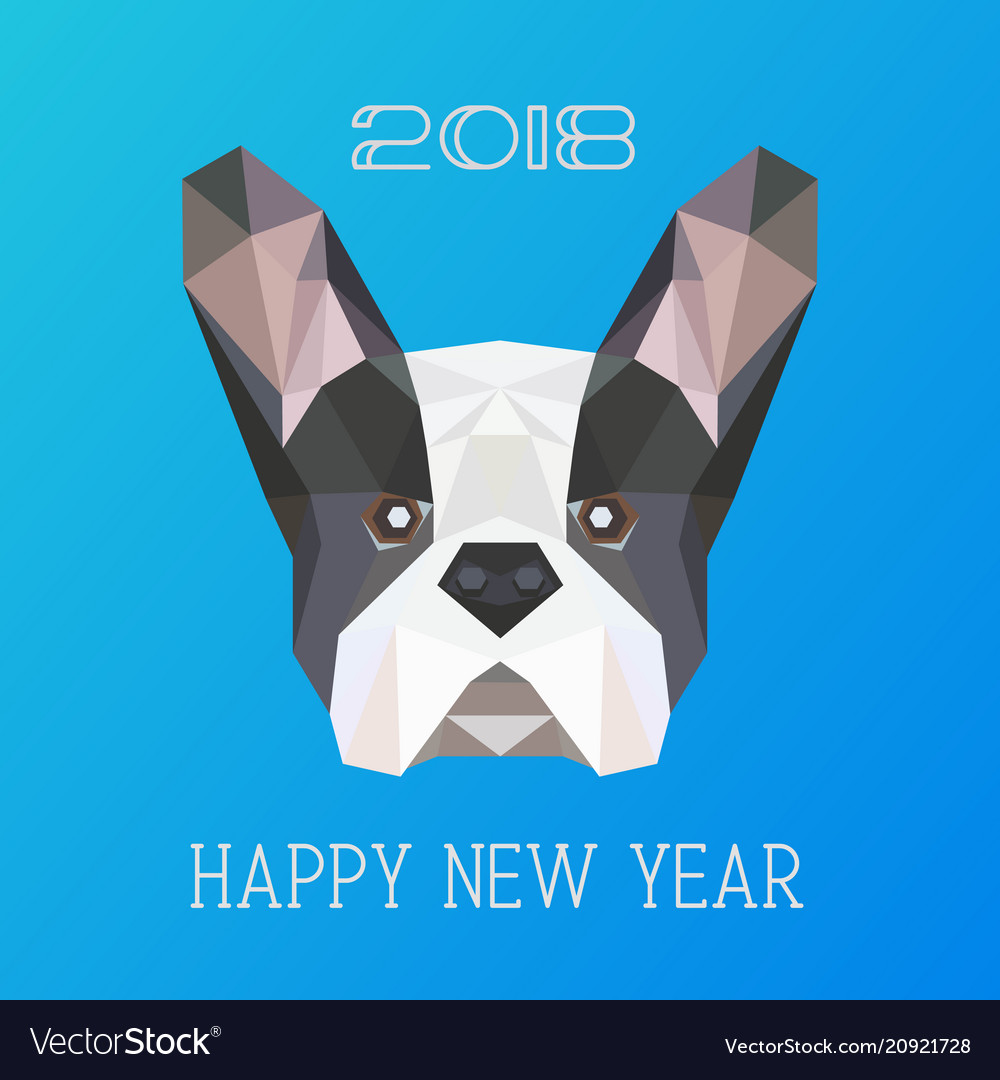 medium resolution of polygonal head of french bulldog vector image