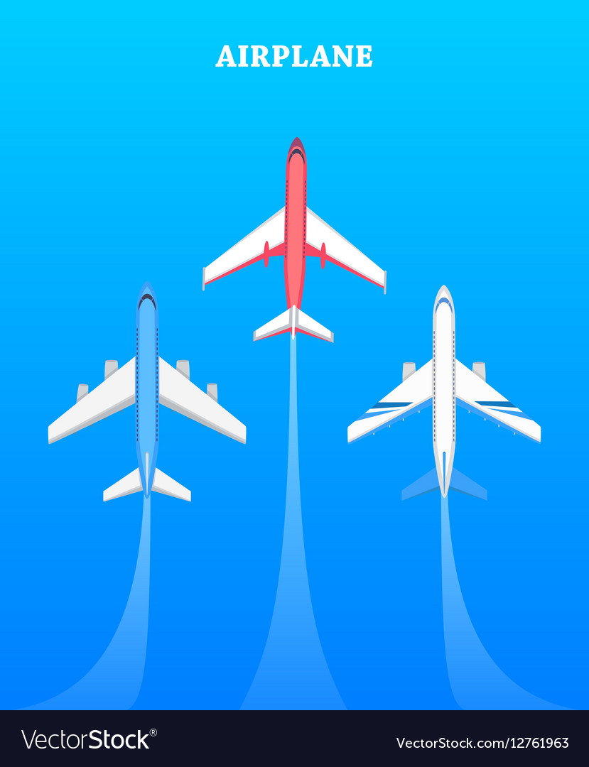 set of airplanes flying