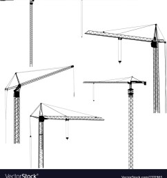 silhouettes of construction crane tower vector image [ 960 x 1080 Pixel ]