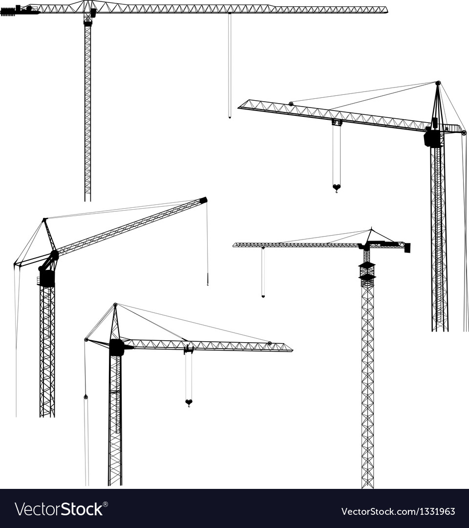 medium resolution of silhouettes of construction crane tower vector image