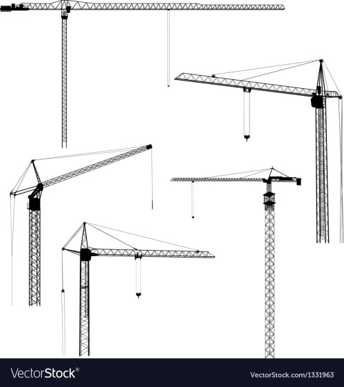 small resolution of silhouettes of construction crane tower vector image